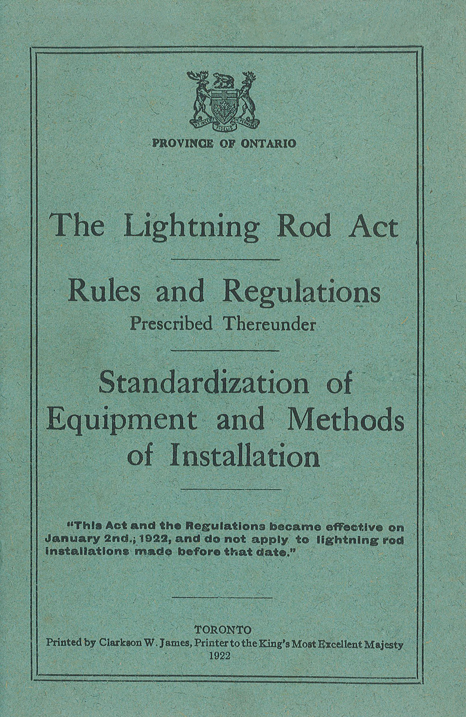 1922 Lightning Protection Standard Act