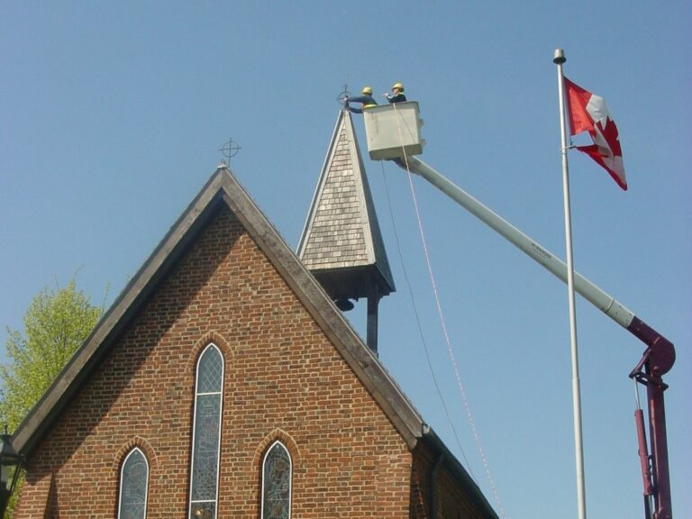 Lightning protection on church roof